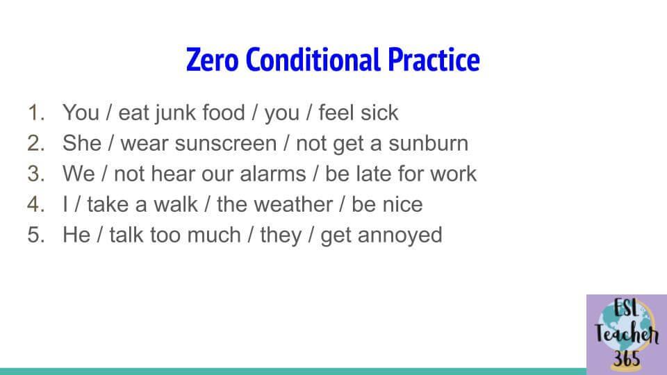 Zero Conditional Practice