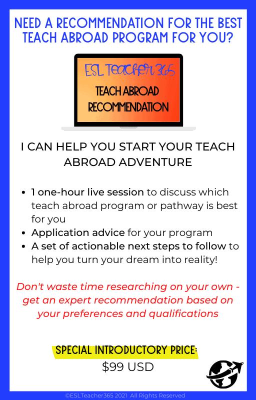 Teach Abroad Recommendation Program Information
